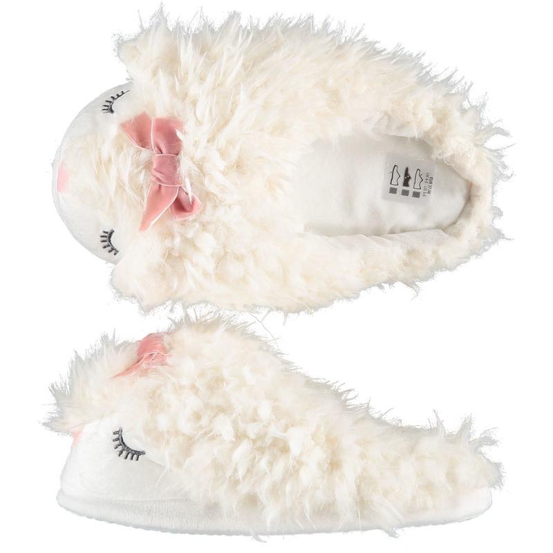 7e80e8f62ce29f Sloffen/pantoffels instappers witte alpaca voor dames sloffen ...